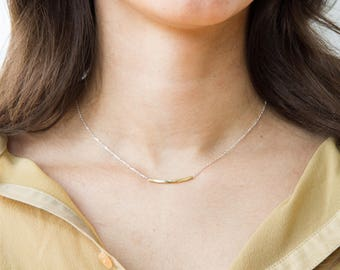 Angle Contour necklace - Sterling silver or brass, minimalist, dainty necklace by CamilletteJewelry