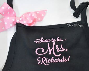 Personalized Aprons, Mrs. Apron, Soon to Be Apron, Bride Apron, Monogrammed Apron, Custom Apron, Embroidered Apron, Engagement Party Gift