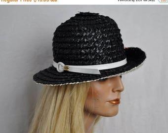 STARTSUMMERSALE Mod Black and White Straw Bucket Hat/Vintage 1960s/Patent Leather Trim/Adolpho II/Retro Chic Summer Hat