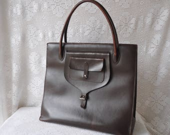 Vintage Ralph Lauren Brown Leather Tote Handbag/Vintage 1980s 1990s/With Side Flap and Buckle Detail