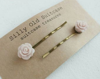 Cute resin rose bronze coloured  hairpins set of two