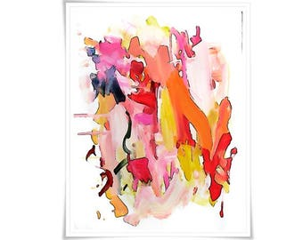 Large Original Abstract Art pretty vancouver artist melissa thorpe canadian office bright colourful colorful pink purple orange red painting