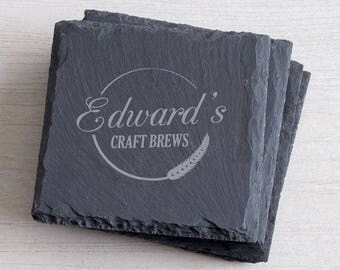 Personalized Home Brew Slate Coaster Set of 4:  Engraved Craft Brew Coasters, Custom Craft Beer Coaster Set, Home Brewer Gift SHIPS FAST