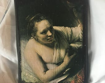 Vintage Reproduction Rembrant A Woman  in Bed