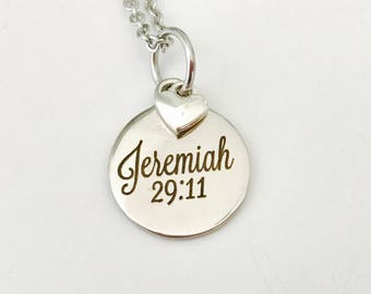 Jeremiah 29:11 Necklace , Stainless Steel Necklace, leaving for College gift