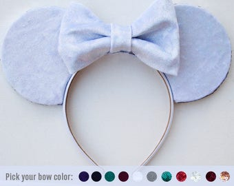 Holographic White Ears / White Mouse Ears / Holographic Disney Ears / Disneyland / Mickey Mouse Ears / Minnie / Gift for her / Xmas gift