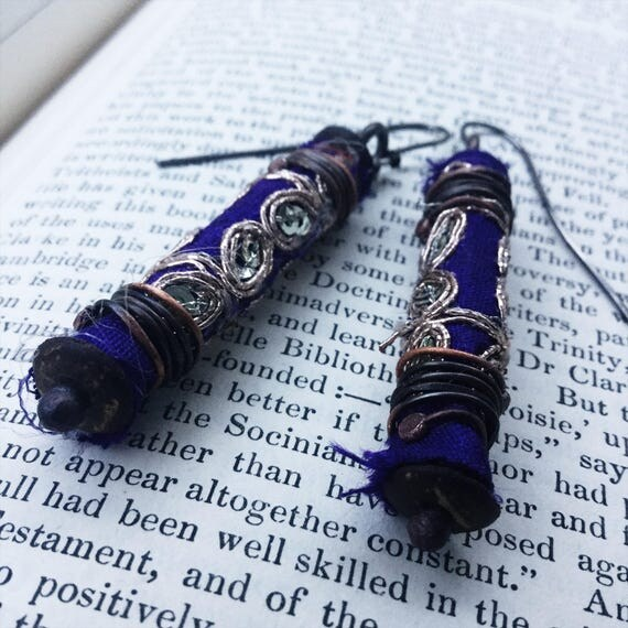 Tattered textile boho  drop earrings with gold embroidered purple Indian fabric