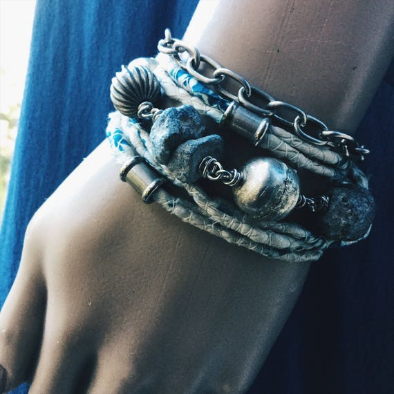 Rustic gypsy wrist wrap / necklace with Ethiopian silver beads, raw African Mali stone and sari silk