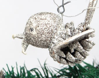 Vintage Pine Cone Bird Christmas Ornament, Antique Glitter