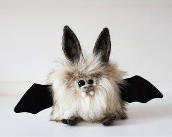 WAFFLES - Small Plush Bat, OOAK Bat Soft Sculpture, Fibre Art, Plush, Halloween