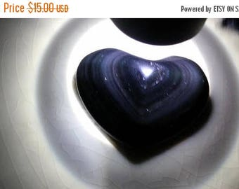 Etsy On Sale Rainbow Obsidian Heart Palm Stone, 34g, 43x17x32mm, Polished to a Beautiful High Gloss, Grounding, Calming, Organizing