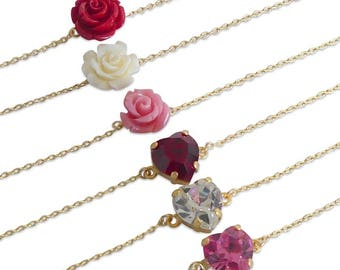 ruby red rose and heart bracelets