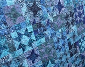 RESERVED Queen Batik Star Patchwork Quilt, Starlight by PingWynny