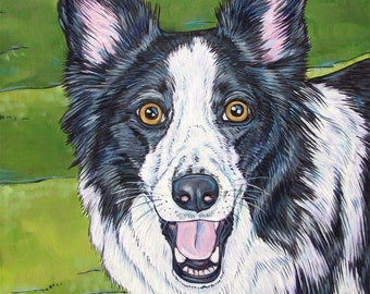 """Custom Pet Painting on Canvas 11"""" x 14"""" Dog Portrait of 1 Dog, Cat, Other Pets Ready to hang no framing needed dog lover fathers day gift"""
