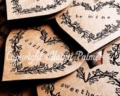 Avery Hill Alaina Palmer Set of Six Hand Block Printed Valentine Floral Heart Wreath Notecard Relief Printing Valentine Words Love Be Mine