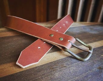 Handmade Brown Leather Belt with Antiqued Brass Hardware