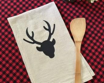 Tea Towel Flour Sack Deer  Natural Feed Sack Kitchen Towel