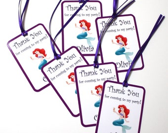 Set of 12 Thank You Party Favor Tags, Mermaid Ariel Personalized Birthday Party Favors Tags Thank You Gift Tags, Super Hero Party Supplies