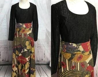 70s Henry Lee Lurex Graphic Print Black Gold Maxi Dress