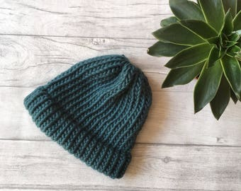 Blue beanie hat, knit accessories,hats for men, gifts for him, knitwear for men, teal knit, chunky knit hat, knitted hat, mens accessories