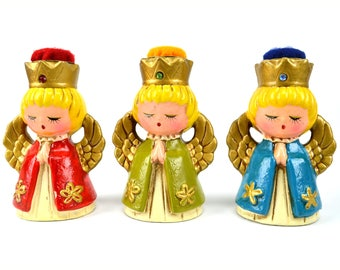 Vintage Christmas Angels Praying Set of 3 Ardco Dallas Ceramic Figurines with Rhinestone Christmas Decor, Angel Figurine
