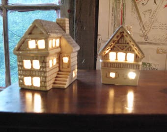 Two Miniature Lit Up Houses From Germany. So Sweet