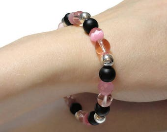 pink & black stretch bracelet fits 7.25 inch wrist