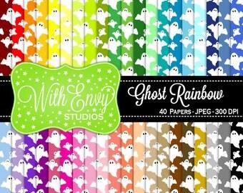 SALE  Rainbow Ghost Digital Scrapbook Paper Pack - Ghost Paper Set - Ghost Scrapbook Paper - Rainbow Scrapbook Paper - Halloween Paper