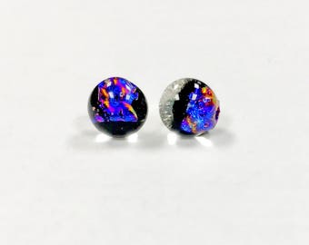 Stud post glass dichroic silver plated earrings