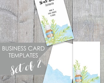 Essential Oils Business Card, Business Card, Calling Card, Essential Oils, Blue Essential Oil Business Card Template, Rosemary