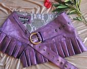 RESERVED FOR JESS Pink shimmer steampunk burning man leather  mini skirt mini skirt  leather skirt