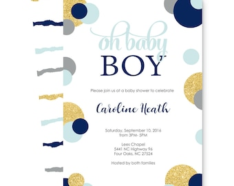 Mod Dot Boys Baby Shower Invitation Abstract Navy and Gold Sprinkle Coed Party Announcement Personalized Printed Card Set with Envelopes