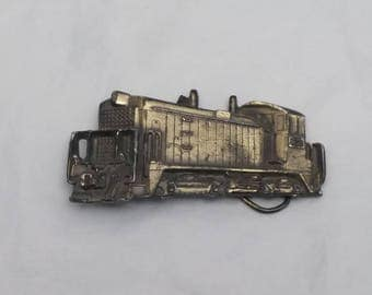 1980 Diesel Train Locomotive Railroad Brass Belt Buckle by The Great American Buckle Co Chicago, Serial Number 273, Made in USA