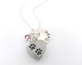 Personalized Silver Pet Memorial Necklace/Paw Print Urn/ Pet Ashes Jewelry/Cat Ashes Necklace/Dog Ashes Necklace/Urn for Animal Ashes