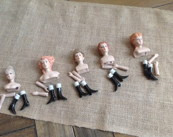 Set of Five Famous American Series Porcelain Doll Kits with clothing Patterns and Sewing Instructions for All Five Dolls