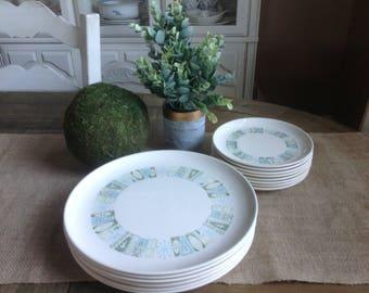 "FREE SHIPPING Taylor Smith & Taylor Jamacia Bay Dinner Plates and Salad Plates  Colorcraft Atomic 10""  set of 14 piece set"