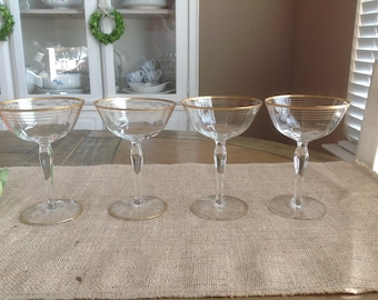 Set of 4 Vintage Hand Blown Champagne Coupes with FIVE Gold Bands From the 1940s
