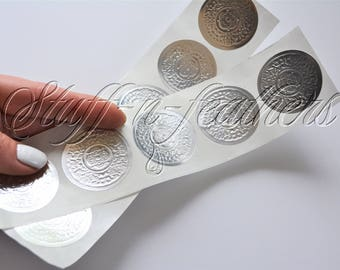SILVER foil sticker seals SMALL round embossed stickers 1.5 in Envelope Seal Invitation Seal Wedding Seal gift Christmas cards / D15SS