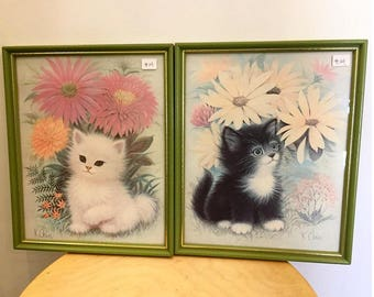 SET OF 2:  Vintage 1950s cats lithograph wall decor by K Chin