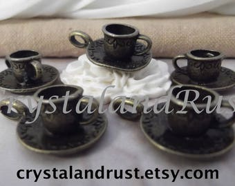 5pc. Cute Coffee Cup-Saucer Charms --- Antique Bronze Color --- CHM - 142