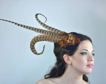 Copper Feather Hat with Navy Blue Velvet Base