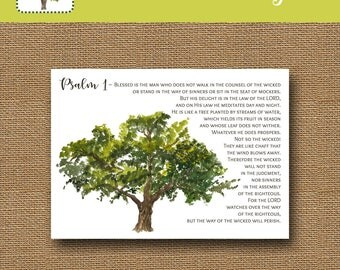 Christian Father's Day Card | Religious Father's Day Printable Card | Psalm 1 Scripture Card | Last Minute Father's Day | DIY PRINTABLE