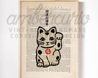 Maneki Neko Good Luck Cat Vintage Asian Print on an Unframed Upcycled Bookpage