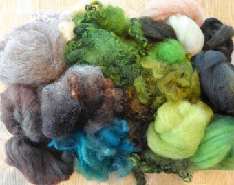 Hope Jacare - Mixed wool pack- custom blended top -  140g hand dyed top and fleece  - MWP07