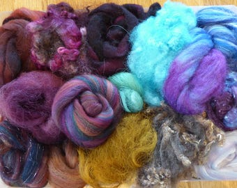 Hope Jacare - Mixed wool pack- custom blended top -  110g hand dyed top and fleece  - MWP27