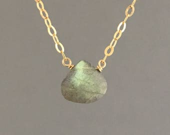Tiny Labradorite Teardrop Gold Necklace Also Available in Rose Gold and Sterling Silver