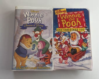 Winnie the Pooh and Christmas Too, Etc (VHS, 1997) LOT OF 2 Clamshell