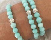 jade bracelet, coastal style jewelry, aqua bracelet, beachcomber bohemian bracelet, gift idea