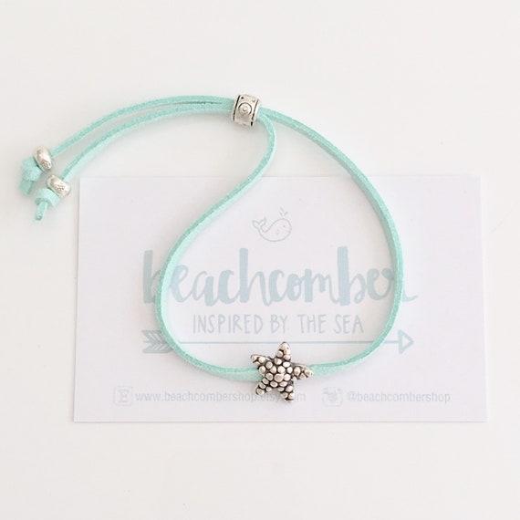 boho jewelry, beachcomber aqua starfish bracelet