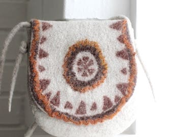 Felt handbag, bag, shoulder bag, cross body purse, boho ethnic messenger bag, felted wool handbag, gift for Her, back to school, hobo bag